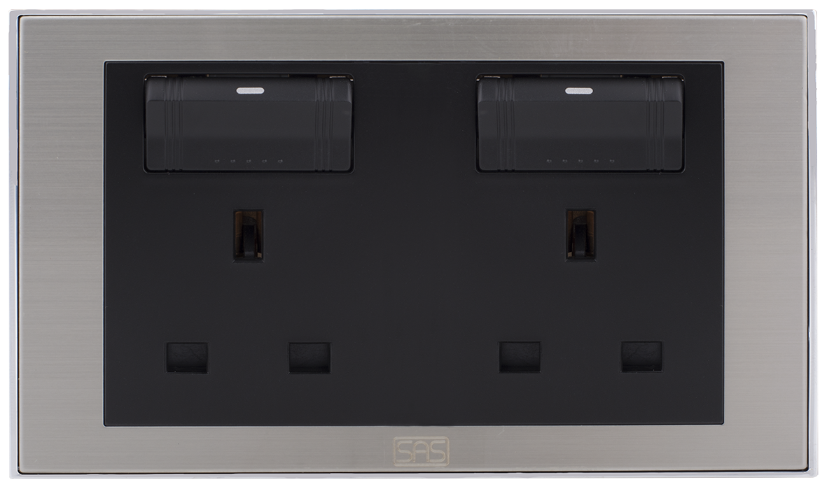 Double Socket British Type with Switch & shutter (7x14 / 13A)