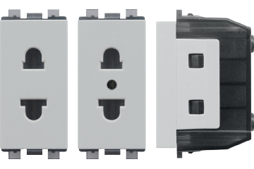 16A socket euro-american type with shutter (light grey) (with earth)
