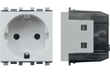16A socket german type with shutter (light grey)