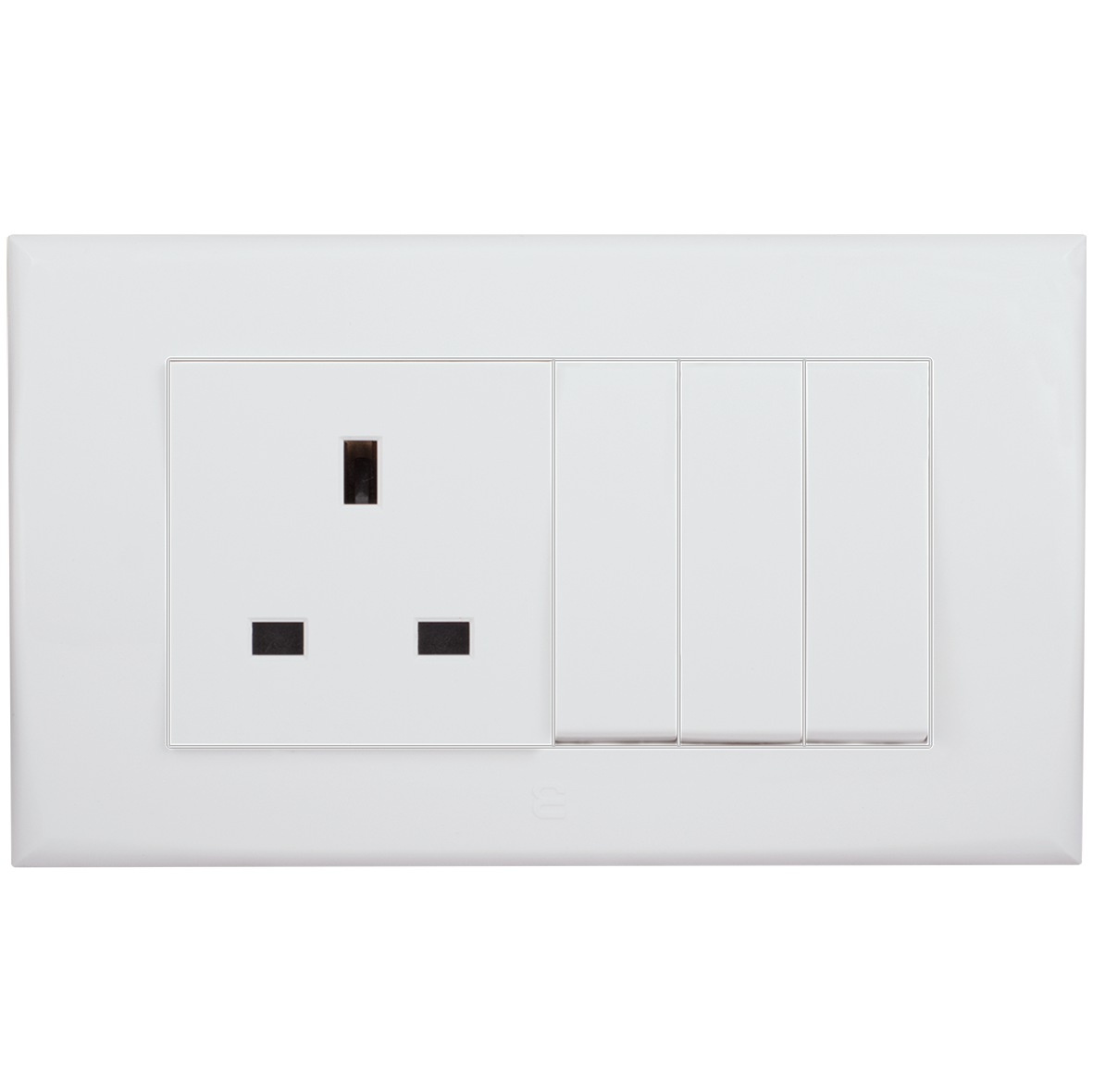 socket british type + three gang one way switch