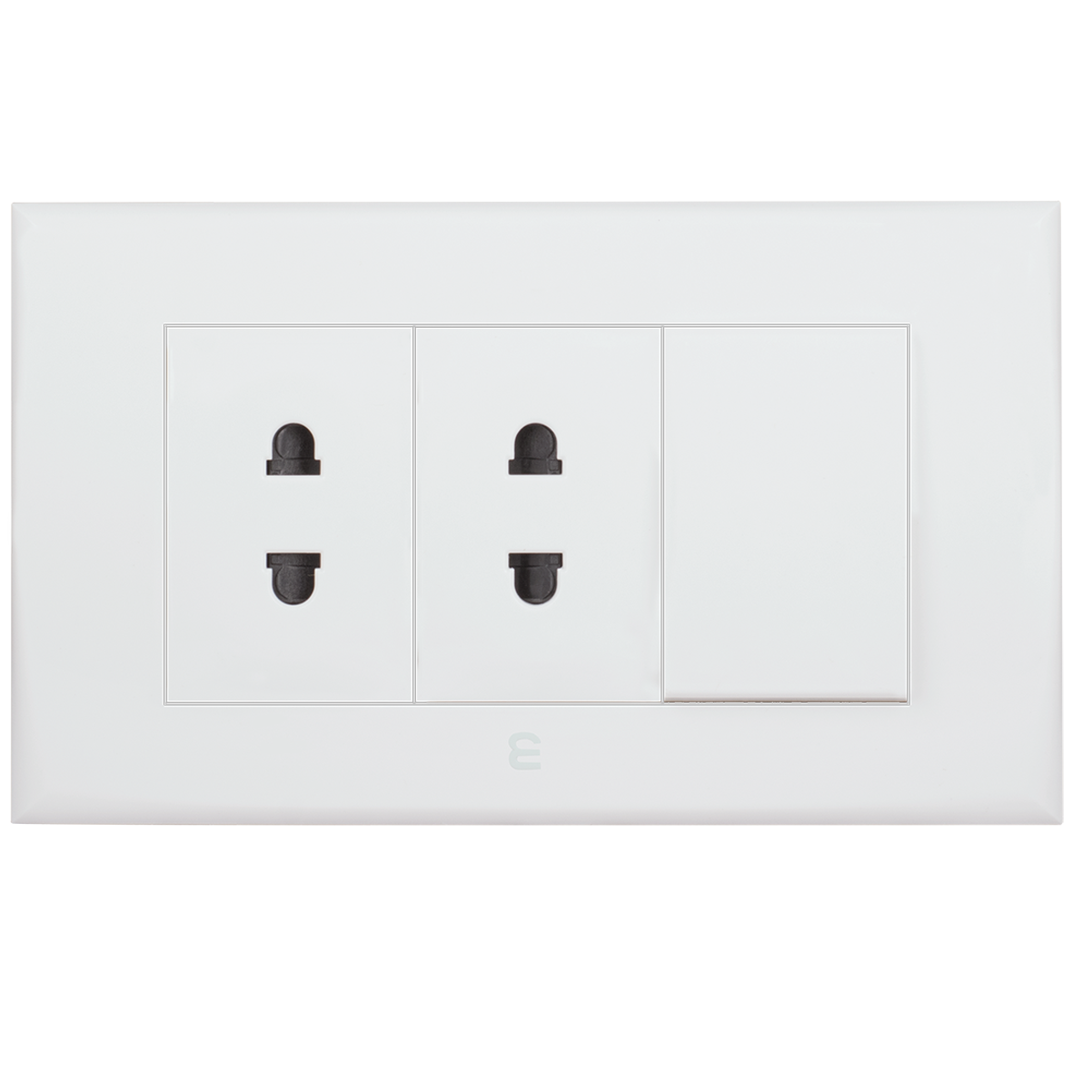 Double socket euro-american type + one way switch