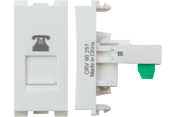 Telephone socket 4P/8P with shutter (white)