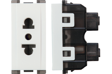 16A socket euro-american type with earth (white)