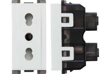 16A socket italian type with shutter (white)